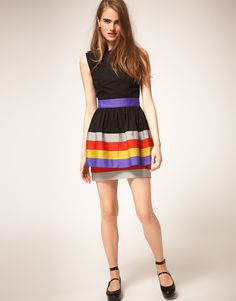 Ribbon Trim Dress - not sure about the double layer skirt, but I like the bright colours