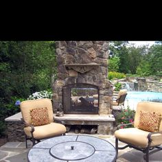 dual sided outdoor fireplace