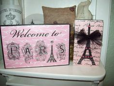 PARIS and Eiffel Tower shelf sitter sign by JulieannasCreations, $17.50