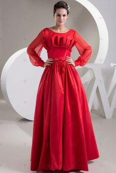 red dress A-line Scoop Neck Red Chiffon Pleated And Bowknot Full Sleeve Prom Dresses