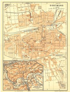 1909 Original Antique City Map of Dortmund, Germany, from Karl Baedeker travel guide Vintage Maps, Antique Maps, Antique Prints, Map Globe, City Maps, His Travel, Me On A Map, Geography, Travel Guide
