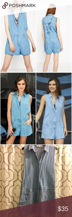 "Zara Don't Look Back Denim Romper Zara Denim Shorts Romper. Scoop neck, sleeveless, open sides, button from, zipper fly, front and back pockets. ""Don't Look Back"" printed on back. Oversized fit. So super cute, just too short for me. As seen on Hailee Steinfeld. First 2 pics are not mine. Approx 31"" long, 17"" across waist, 2.5"" inseam. 100% cotton. Worn once. EUC.  On here to declutter, 🚫 trades. If I want something in your closet badly enough, I'll buy it 😍 Reasonable offers always…"