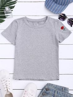 SHARE & Get it FREE | Short Sleeve Rose Embroidered T-Shirt - GrayFor Fashion Lovers only:80,000+ Items • New Arrivals Daily Join Zaful: Get YOUR $50 NOW!