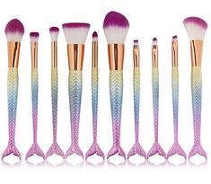 Mermaid Makeup Brush Set - 10 Brushes