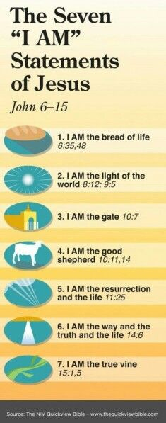 "The SEVEN ""I Am"" Statements of JESUS. Christian faith bible ""I AM"" scripture verses. Christian Faith, Christian Quotes, Bible Scriptures, Bible Quotes, Quick View Bible, Religion, I Am Statements, Life Quotes Love, Bible Lessons"