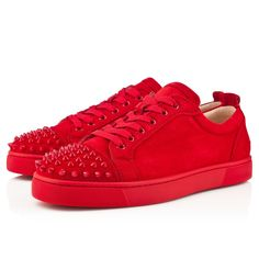 Christian Louboutin - LOUIS JUNIOR SPIKES FLAT SUEDE, Suede, Red/Red, Men Shoes