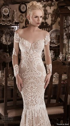 NAAMA & ANAT fall 2016 #bridal dresses stunning gorgeous mermaid #wedding dress off the shoulders long sleeves sweetheart neckline lace filigree embroidery style superior closeup #weddingdress