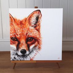 This is a limited edition canvas print of my Fox painting, from an original acrylic on canvas. It is produced as a gallery standard stretched canvas print on a handmade wooden frame, ready to hang with no need for mounting or framing. I am only producing 250 of each size.  The prints are made to order, numbered and signed, and couriered safely and professionally packaged to anywhere in the UK.  Hes also available as a greetings card.