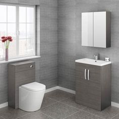 Brooklyn-Cloakroom-Suite-Grey-Avola-new-l. Cloakroom Suites, Cloakroom Basin, Cloakroom Ideas, Bathroom Ideas, Downstairs Cloakroom, Bathroom Designs, Living Furniture, Bathroom Furniture, Modern Bathroom