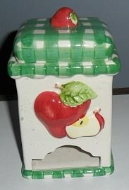 red apple and gingham teabag dispenser/holder ... decorated with applied whole & sliced apple and green & white gingham pattern lid and trim, ceramic