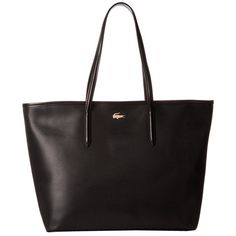 Lacoste Chantaco Medium Tote (Black) Tote Handbags ($295) ❤ liked on Polyvore featuring bags, handbags, tote bags, tote purses, zip tote, structured purse, zip tote bag and lacoste handbags