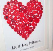 Wedding gift ideas - Red Button Art Heart for Couples 10X12