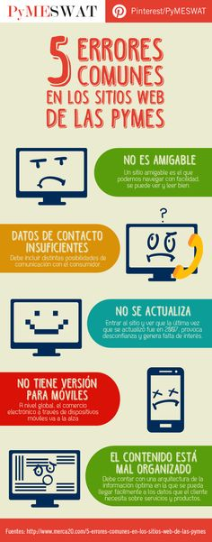 #Infografía 5 errores comunes en los #SitiosWeb de las #Pymes Internet, Marketing Digital, Social Networks, Tools
