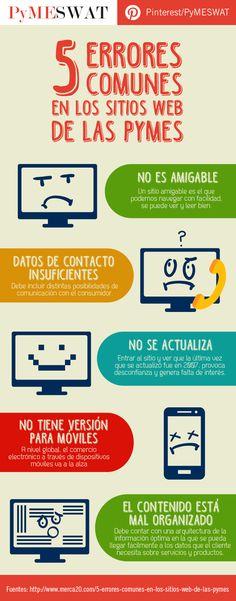 #Infografía 5 errores comunes en los #SitiosWeb de las #Pymes