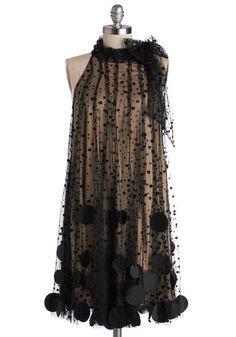 Bubble Duty Dress by Ryu - Mid-length, Black, Tan / Cream, Polka Dots, Special Occasion, Prom, Sheath / Shift, Sleeveless, Better