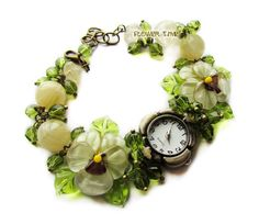 Floral women quartz lampwork bracelet wrist watch от FlowerWatch