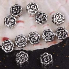 Awesome Lot of 10 Tibetan Silver Rose Flower Spacer Charms Beads Findings #293 $9.95