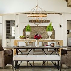 Tufting and iron details make the Joseph Bench a lovely addition to any home. Use at your dining room table or end of the bed -- this piece is so versatile! #gabbyhome #gabbystyle #interiordesign #homedecor #versatile #luxury #dreamhome #diningroom