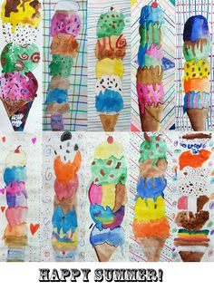 Kunst Grundschule – ART with Mrs. A – grade cones Art Elementary School – ART with Mrs. A – grade cones [. Kindergarten Art Projects, Classroom Art Projects, School Art Projects, Art Classroom, Classe D'art, Ice Cream Art, 2nd Grade Art, Fourth Grade, Summer Art Projects