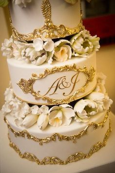 Wedding Cake with gold filigree