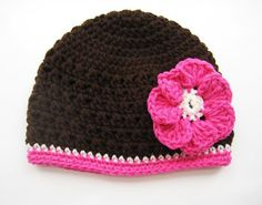 Fall Beanie with Flower, Crochet Pattern (all sizes from newborn to adult)