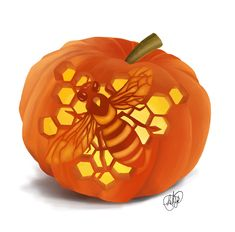 This is entry #12 by AnaViNa  in a crowdsourcing contest Illustrate Something for Honey Bee carved into a Pumpkin for $200.00 posted on Freelancer! Halloween Pumpkin Carving Stencils, Pumkin Carving, Amazing Pumpkin Carving, Halloween Pumpkins, Pumpkin Carving Patterns, Fall Festival Decorations, Diy Halloween Decorations, Pumpkin Crafts, Cute Pumpkin