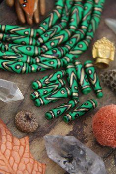 Green Black Gold Teardrop : Painted Handmade Bone Beads, 6x25mm, Native Tribal Craft Jewelry Making Supplies, Fall Festival, Yoga, 8 pcs
