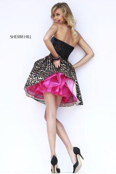 087e75795fb Sherri Hill 32146 Flirty Leopard Print Short Prom Dress with Hot Pink  Lining - FUN