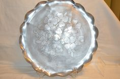 Vintage Round Aluminum Serving Tray 1950s by BigBlossomAntiques on Etsy