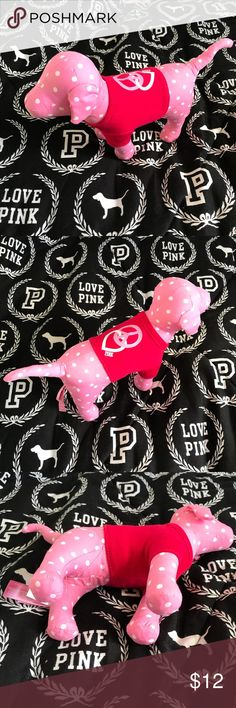 "PINK Victoria's Secret Plush Dog Like new! PINK Victoria's Secret ""peace and love"" plush pup! Pink with small white polkadots. Red sweater with a heart and peace sign.  VS PINK, Victoria's Secret, dog collectors, PINK Victoria's Secret, PINK Dog, PINK Victoria's Secret Other"