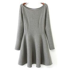 SheIn(sheinside) Grey Round Neck Long Sleeve Pleated Dress ($19) ❤ liked on Polyvore featuring dresses, sheinside, grey, cotton dress, pleated dress, grey dress, sleeve dress and short gray dresses