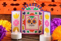 Esta idea original te encantará, es un nicho de papel ideal para poner en la ofrenda, solo necesitas papel, pegamento y cutter y en cuestión de minutos tendrás un resultado espectacular. Echa a volar tu imaginación y crear diseños increíbles. Diy Halloween Decorations, Halloween Themes, Halloween Diy, Diy Arts And Crafts, Paper Crafts, Diy Crafts, Day Of The Dead Diy, Art For Kids, Crafts For Kids