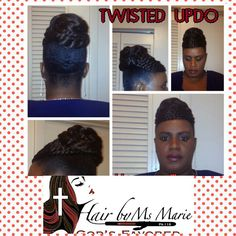 "Hair By Ms Marie ""Updo Style On Natural Hair"" #AllNatural #NoRelaxer #NoFlatIron                                  #HairByMsMarieGodsFavored"