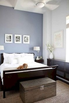 Romantic Master Bedroom Paint Colors - Romantic Master Bedroom Paint Colors , 50 Inspiring Romantic Master Bedroom Ideas for Burning Love Accent Wall Bedroom, Bedroom Paint Colors Master, Master Bedroom Wallpaper, Blue Bedroom Walls, Bedroom Paint, Modern Bedroom, Periwinkle Bedroom, Remodel Bedroom, Master Bedrooms Decor