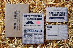 moustache and lips Wedding Invitation - Feel Good Wedding Invitations