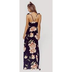 HDY Haoduoyi Fashion Floral Print Dress Women Backless Split Maxi Dress Deep V-neck Sexy Party Dress Casual Bohemian Dresses Club Dresses, Plus Size Dresses, Day Dresses, Casual Dresses, Floral Print Maxi Dress, Maxi Wrap Dress, Mode Blog, Boho Outfits, Summer Outfits