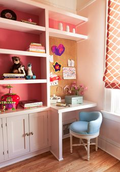 MadeByGirl: love built in wall or desk and shelves