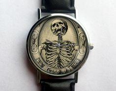 Vintage Skeleton Watch, Antique Tarot Cards, Occult Watch, Unisex, Ladies Watch, Men's Watch, Vintage Inspired, Analog by 10northcreative on Etsy https://www.etsy.com/listing/233606757/vintage-skeleton-watch-antique-tarot