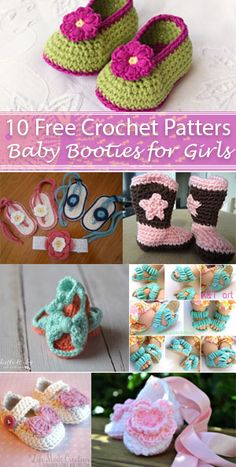 10 Free Crochet Baby Booties For Girls - Free Crochet Patterns - (craftytuts) Crochet Baby Sandals, Crochet Bebe, Baby Girl Crochet, Crochet Baby Booties, Crochet Slippers, Crochet Gifts, Crochet For Kids, Free Crochet, Simple Crochet