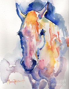 White Horse Art Painting - Grey Horse Watercolor Be Uncommon by Maria's…