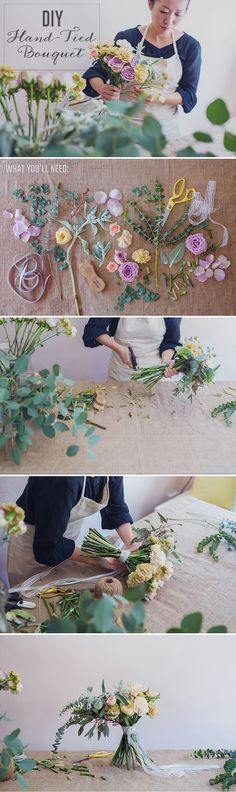 DIY Rustic Hand-Tied Bridal Bouquet {Instagram: theweddingscoop}