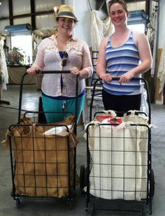 Hannah and Kelly from Frisco, Texas, fashioned these burlap cart liners themselves. They admitted to playing hooky from work to shop First Monday on a Friday.