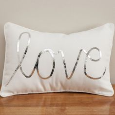 Silver Sequined Love Cushion by Max & Me Homewares