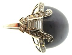 Art Deco Star Sapphire and Diamond Ring