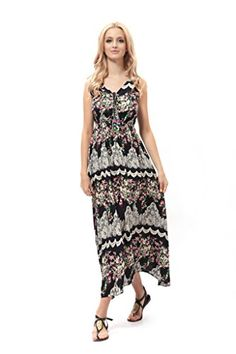 751cf7fed36d Dilanni Women Sexy Summer Boho Long Maxi Dress Floral Printed Sundress L      You can get additional details at the image link. (This is an affiliate  link)