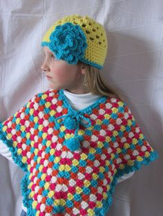 Colorful Crocheted Poncho  Girl's Poncho  Spring by MomsGiftShoppe