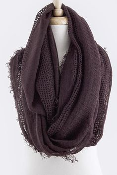Earthy Infinity Scarf in a deep Bordeaux from Sweater Weather Co. The pattern of the fabric is beautiful and the color is definitely in right now. This looks very warm and cozy, and is so stylish. #scottsmarketplace