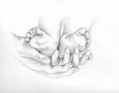 pencil drawings of baby feet Baby Hand Tattoo, Hand Heart Tattoo, Baby Feet Tattoos, Hand Tattoos, Pencil Drawing Images, Pencil Art Drawings, Drawing Sketches, Drawing Tips, Pencil Sketching