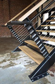 Detail of stair posts Steel Railing, Metal Stairs, Railings, Stair Posts, Stair Detail, Solid Doors, Floating Stairs, 3d Laser, Interior Stairs