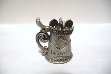 THIMBLE PEWTER NICHOLAS GISH & SIGNED STEIN OF BUDWEISER THE KING OF BEERS 1981